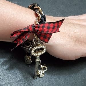 Betsey Johnson love block charm bracelet